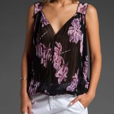 "Free People Hibiscus floral top Free People hibiscus floral top •Size xs (but could fit a small) •Black base with purple flower details •Sheer chiffon style fabric •Accordion pleated floral top with v necklines and 2"" wide shoulder with ruffle trim. Top ties at back. Has a fitted hem with 2 button closure.  •Light use and in great condition Free People Tops Blouses"
