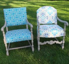 #Obsessed - Vintage Chair Bright Blue repurposed and by RedWingedDesigns. $130.00, via Etsy.