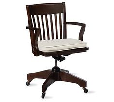 """$319 - Swivel Desk Chairs & Cushions #potterybarn Antique White 18"""" wide x 22"""" deep; height adjusts from 35"""" to 39"""""""