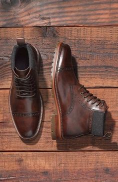 J&M 1850 Karnes Brogue Cap Toe Boot (Men) (Nordstrom Exclusive) available at # - Leather Boots - Ideas of Leather Boots - J&M 1850 Karnes Brogue Cap Toe Boot (Men) (Nordstrom Exclusive) available at High Ankle Boots, Brown Leather Ankle Boots, Leather Men, Cowhide Leather, Suede Leather, Custom Leather, Handmade Leather, Vintage Leather, Me Too Shoes