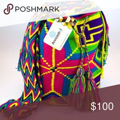 Colombian Wayuu Bag Woven bag, braided strap. 100% cotton. Bohemian and summer bag. HANDMADE. Anncestral Bags Shoulder Bags