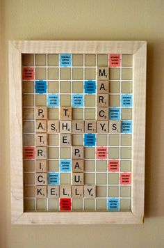 Use the board game Scrabble to make a crossword with the names of your family members.