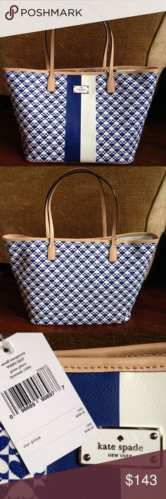"Kate Spade blue/cream Small Margereta tote NWT Small blue/cream tote, tan handles and trim, and gold hardware.  Two interior pockets and one zipper pocket. Approx 8"" strap drop, 16"" L top, 11.5""L base, 5.5"" W, 10""H.  PRICE FIRM kate spade Bags Totes"