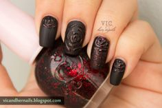 Vic and Her Nails Black Roses