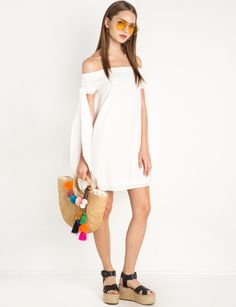 White Long Side Ties Off The Shoulder Dress