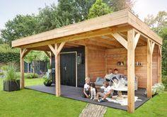 Vrijstaande Douglas hout tuinoverkapping van 313 cm breed