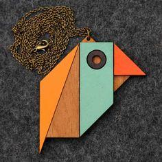 DIY Tangram necklace bird