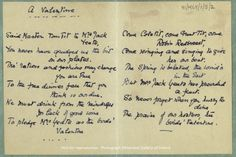 Valentine poem by Jack Butler Yeats for his wife Mary Cottenham Yeats, [c.1894-1910].