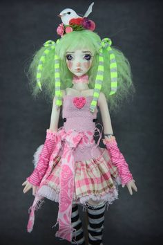 Super cute green candy bird single jointed doll by Forgotten heart