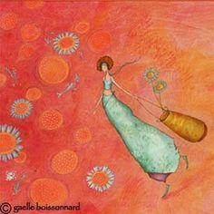 "Flower: ""Girl with Daisy Basket"" by Gaelle Boissonnard"