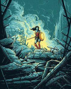 Wonder Woman Warrior - Created by Dan MumfordLimited edition prints available for sale at Dark Ink Art. Bruce Timm, Batman Vs, Superman, Justice League, Wallpaper Horizontal, Wonder Woman Pictures, Dan Mumford, Dc Comics, Art Of Dan