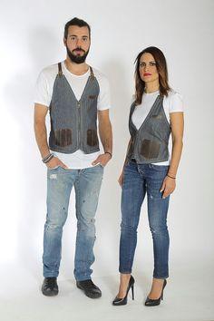Zip de tela chaleco con cinco casos de cuero para herramientas, lazos de cuero ajustable Unidos transversalmente y una correa de la cintura.