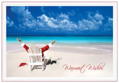 relaxing santa tropical beach christmas cards christmascards4lesscom beach christmas cards beach holiday - Beach Christmas Cards