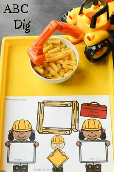An ABC dig activity to do with preschoolers after reading Goodnight, Goodnight Construction Site. Preschoolers will love this hands-on literacy activity! Construction Theme Preschool, Construction Crafts, Construction Business, Construction Birthday, Construction Design, Kids Learning Activities, Alphabet Activities, Preschool Alphabet, Preschool Lessons