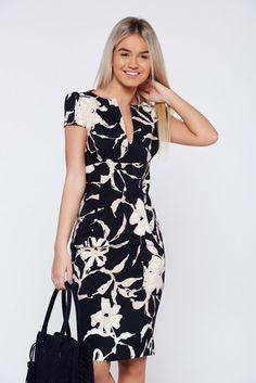 Comanda online, Rochie PrettyGirl neagra eleganta tip creion cu buzunare. Flowery Dresses, Cute Dresses, Beautiful Dresses, Casual Dresses, Short Dresses, Girls Dresses, Chic Outfits, Dress Outfits, Classy Dress