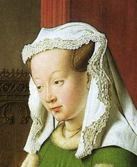 Jan Van Eyck. Wife of an Arnolfini. From the Arnolfini Wedding Portrait. 1434. National Gallery, London.