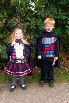 EASY DIY Star Wars Costumes for the whole family...  LOVE the tutu for the little girl Darth Vader!   #StarWarsDIY
