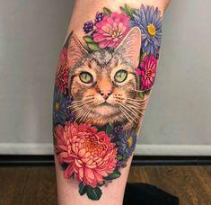 Cat Portrait – by Sam Ford @ Silver Needles Southend UK – Tatoo ideas – Cat tattoo – Fashion Tattoos Cat Portrait Tattoos, Dog Tattoos, Animal Tattoos, Sleeve Tattoos, Ankle Tattoos, Arrow Tattoos, Friend Tattoos, Tatoos, Ford Tattoo