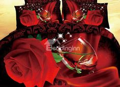 Shining Red Rose Red Wine Print 4-Piece Cotton Duvet Cover Sets #bedding #bedroom Floral Bedding, Linen Bedding, Beautiful Bedding Sets, Nursery Bedding Sets Girl, Bedding Sets Online, Love Valentines, Duvet Cover Sets, Bedroom Decor, Bedroom Ideas