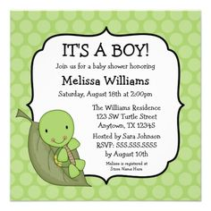 Turtle Baby Shower Invitations | Turtle Green Dots Baby Shower Invitations - Zazzle.com.au