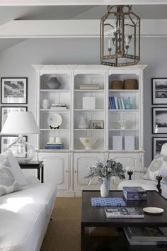 Like the wall color, white, & dark furniture accents - Maureen Griffin Ballbaugh Design