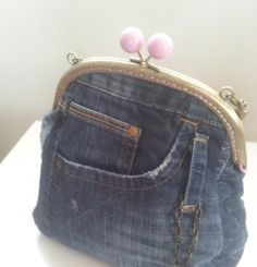 Denim purse hand bag from recycled jeans clutch purse von KassiAlma, €36.00