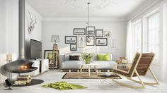 Scandinavian interior living room design with fireplace