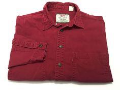Levi's L Red Long Sleeve Cotton Denim Shirt Men's Large Levi Strauss #Levis #ButtonFront