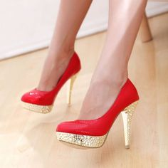 red and gold high heels fashion mods style pic image photo shoes http://www.womans-heaven.com/red-and-gold-high-heels/