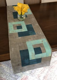 Modern Quilted Table Runner, Grey Aqua and Teal Wallhanging, Reversible Tablerunner, Modern Table Decor, Modern Quilted Table Runner by FabriArts on Etsy