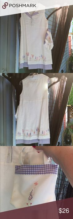"Darling linen shift with matching tote! This little shift is so precious with its delicate linen/cotton fabric and embroidered designs!  Your adorable little girl could wear this to church or wear it dining with you in the Hamptons!  ☺️ measures 13"" pit to pit flat laid and is 25"" in length from the back of the neckline to the hem. Dresses Casual"