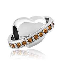Sterling Silver Jewelry - 925 sterling silver topaz yellow bling swarovski  crystal heart dolce vita fit beads charms bracelets all brands Image. 152f2f11b2921