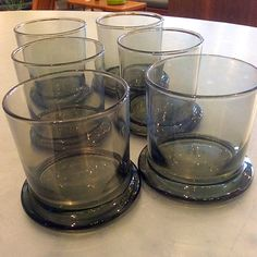 Set of Six #Mod #SmokedGlass #DOF #BarGlasses . Info @ www.RocketCentury.com.