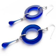 Cobalt Meteor Earrings by Tawny Reynolds of Sundrop Jewelry