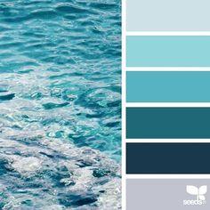 Design Seeds / Color Palette for Paints / Blues Coastal Colors, Ocean Colors, Wall Colors, House Colors, Paint Colors, Beach Color Palettes, Colour Pallete, Colour Schemes, Ocean Color Palette