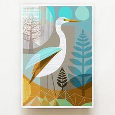 New Zealand, Kotuku, bird, print by Ellen Giggenbach, Nz Art, Guache, Bird Prints, Geometric Art, Bird Art, Beautiful Artwork, Watercolor Art, Graffiti, Canvas Art