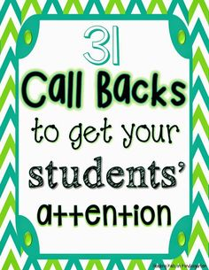 Call Backs After Spring Break (FREEBIE!) FREE Call Backs (Attention Getters) for the primary classroomFREE Call Backs (Attention Getters) for the primary classroom Classroom Behavior Management, Behaviour Management, Behavior Plans, Behavior Charts, Classroom Management Techniques, Primary Classroom, Kindergarten Classroom, Classroom Ideas, Future Classroom