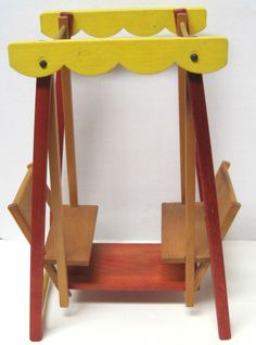 Vintage 1950s Strombecker Wooden Ginny Size Doll Lawn Swing Glider Furniture