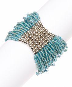 Turquoise New York Beaded Stretch Bracelet