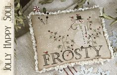 Please notice expected shipment date. Jolly Happy Soul is the title of this cross stitch pattern from With Thy Needle and Thread that is stitched with Weeks Dye Works