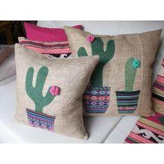 Fundas Arpillera-aplique Cactus Bordado 40x40cm - $ 158,00 en MercadoLibre Burlap Pillows, Decorative Pillows, Throw Pillows, Couch Pillows, Plaid Bedding, Crochet Cactus, Cat Cushion, Diy Couch, Cactus Decor