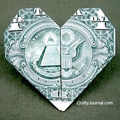 Make a dollar bill heart origami for a fun gift idea.