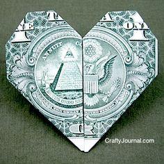 Origami heart dollar tutorial.