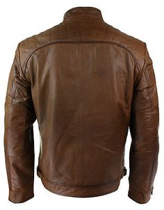Details about Mens Retro Style Zipped Biker Jacket Real Leather ...