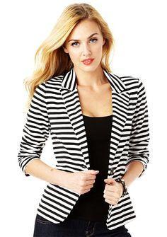 black and white striped blazer womens - Google Search