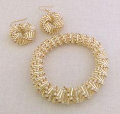 Golden Helix Bracelet And Earring Beading Pattern Tutorial Beadweaving Russian…