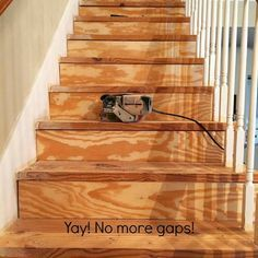 A very detailed tutorial of DIY carpet removal and painting stairs. Involves expanding foam, wood filler, belt sander, riser covers, building out beveled noses, etc.