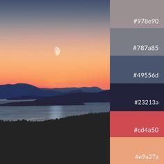 """Attention """"To the moon and back"""" part 1 Sunset Color Palette, Sunset Colors, Colour Pallette, Paint Color Schemes, Color Psychology, Color Studies, Design Graphique, Paint Colors For Home, Colour Board"""