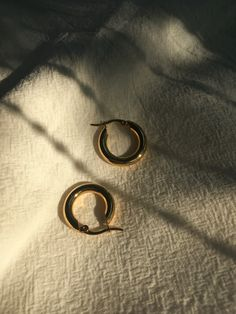 4mm thick, extra chunky gold hoops by The Hexad Jewelry