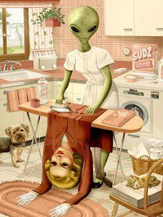 Jeff Drew, art- alien, ironing out her human skin Art Alien, Pop Art, Weird Art, Strange Art, Psychedelic Art, Surreal Art, Aesthetic Art, Alien Aesthetic, Collage Art